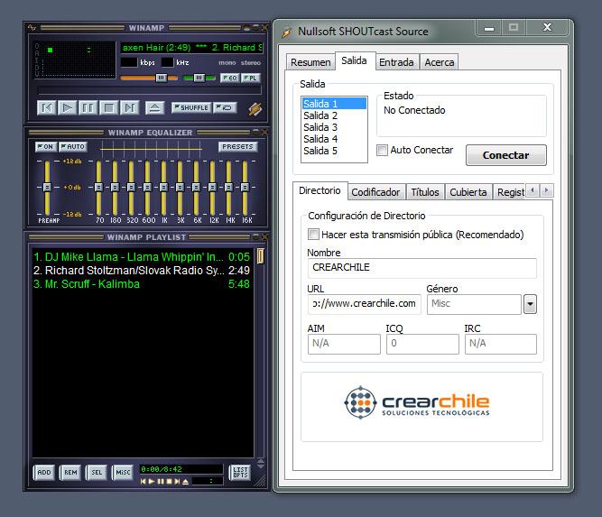 Configurar Winamp y Shoutcast